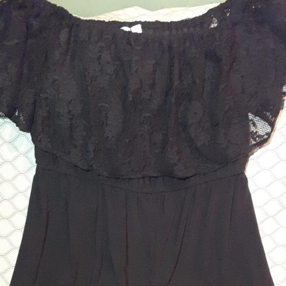 63e78796ce Emma   Michele black jumpsuit lace ruffle top Lg